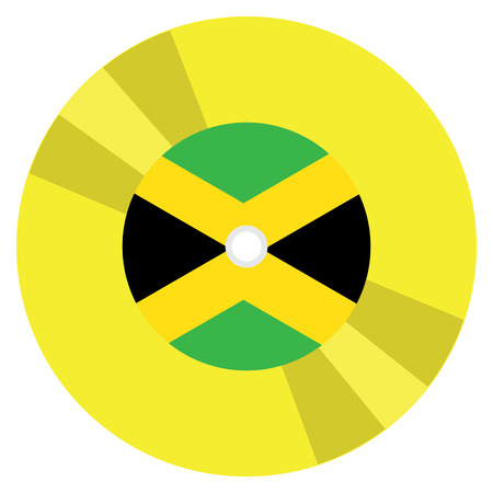 Isolated flag of Jamaica on a CD, Vector illustration