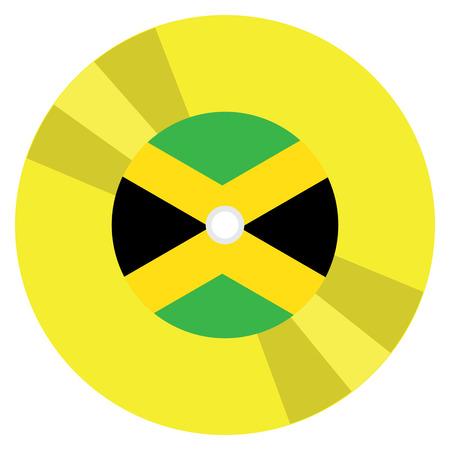 Isolated flag of Jamaica on a CD, Vector illustration