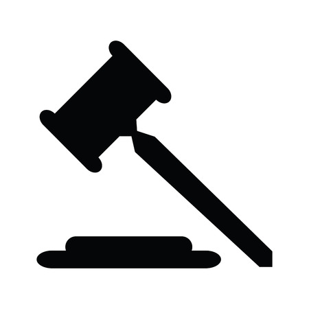 Isolated silhouette of a gavel on a white background, Vector illustration