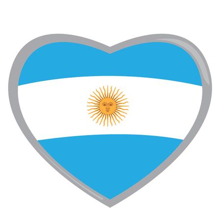 argentinian flag: Isolated Argentinian flag on a heart shape, Vector illustration