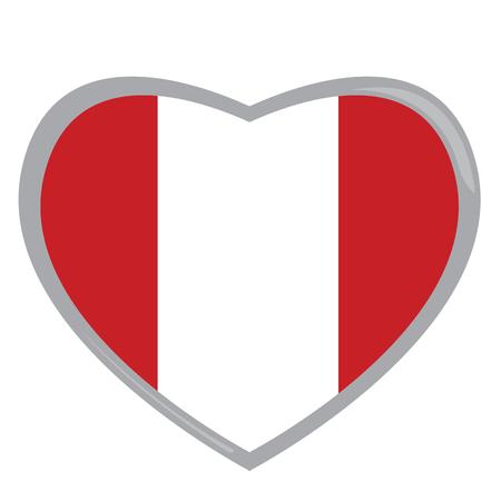 peruvian: Isolated Peruvian flag on a heart shape, Vector illustration