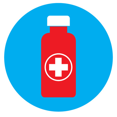 Isolated pill bottle on a blue sticker, Vector illustration