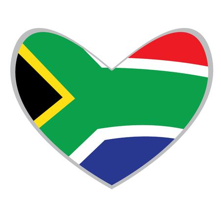 Isolated South Afrikan flag on a heart shape, Vector illustration Illustration
