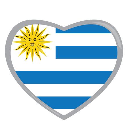 bandera de uruguay: bandera uruguaya aislados en una forma de corazón, ilustración vectorial Vectores
