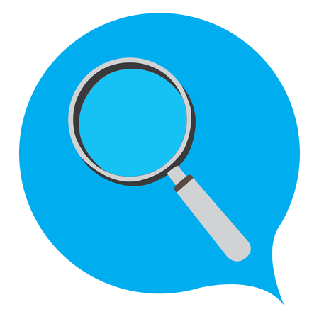 blue glass: Isolated magnifying glass on a blue background, Vector illustration