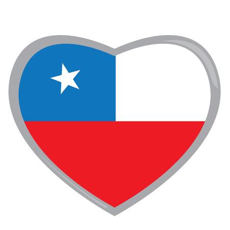 bandera chilena: bandera chilena aislados en una forma de corazón, ilustración vectorial Vectores