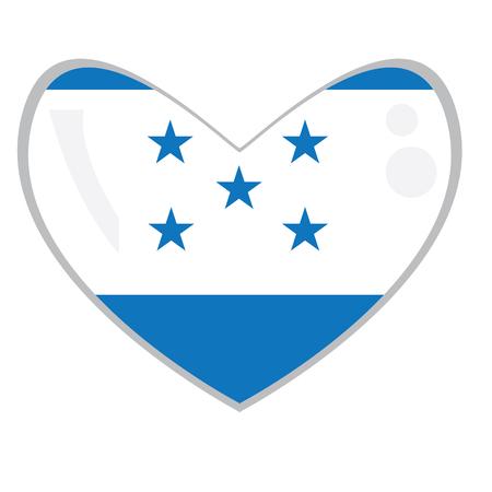Isolated Honduran flag on a heart shape, Vector illustration