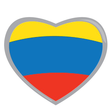 colombian flag: Isolated Colombian flag on a heart shape, Vector illustration