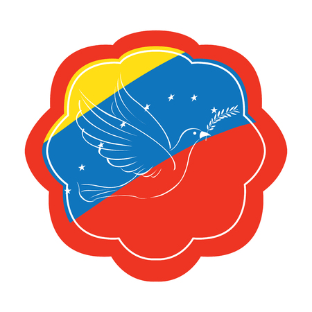 venezuelan flag: Isolated label with the venezuelan flag and a pigeon, Peace vector illustration