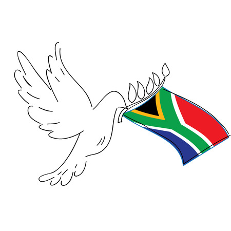 south african: Isolated sketch of a pigeon with the south african flag, Peace vector illustration