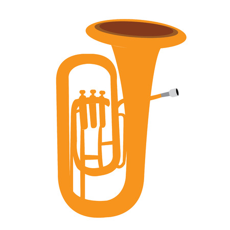 tuba: Isolated yellow tuba, Musical instrument vector illustration Illustration