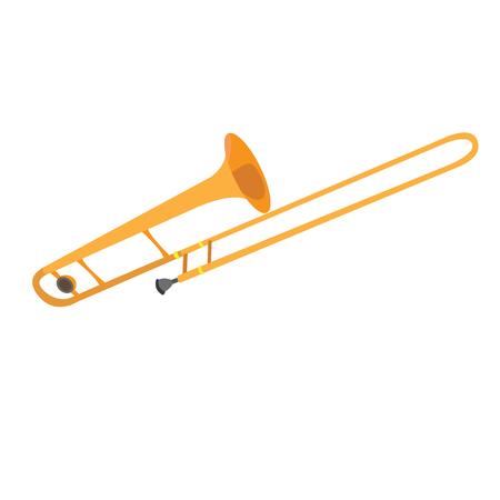 trombon: trombón amarillo aislado, ilustración vectorial instrumentos musicales