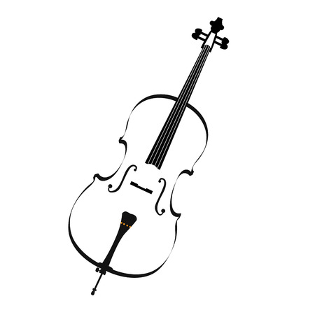 cellos: Isolated sketch of a cello, Musical instrument vector illustration