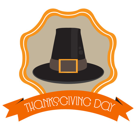 Isolated traditional hat within a label, Thanksgiving day vector illustration