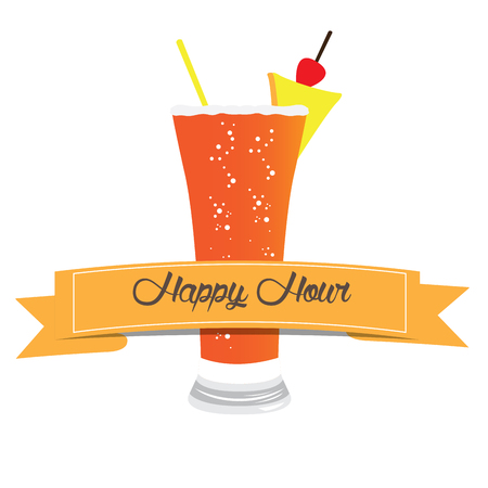 Isolated cocktail with a cherry, Vector illustration Illustration