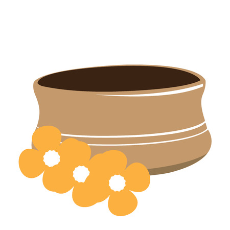 Isolated spa bowl and some flowers, Vector illustration Illustration