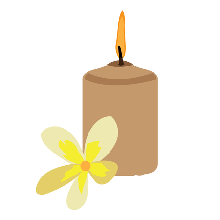 massage symbol: Isolated candle and a flower, Spa vector illustration
