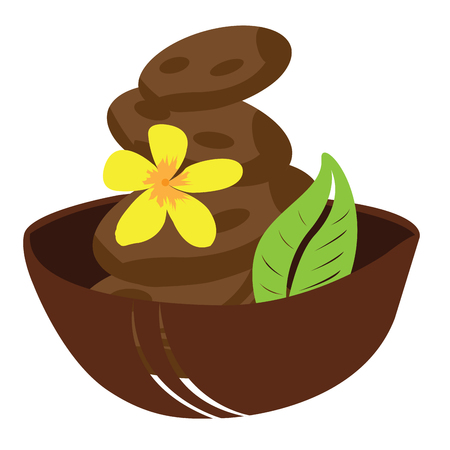 stones with flower: Isolated bowl with a pile of stones, a leaf and a flower, Spa vector illustration Illustration