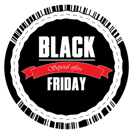 stock clipart icons: Isolated black friday label with text, Vector illustration