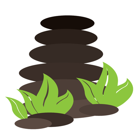 pile of leaves: Isolated pile of stones with leaves, Spa vector illustration