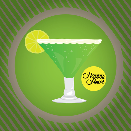 Vintage happy hour graphic design, Vector illustration