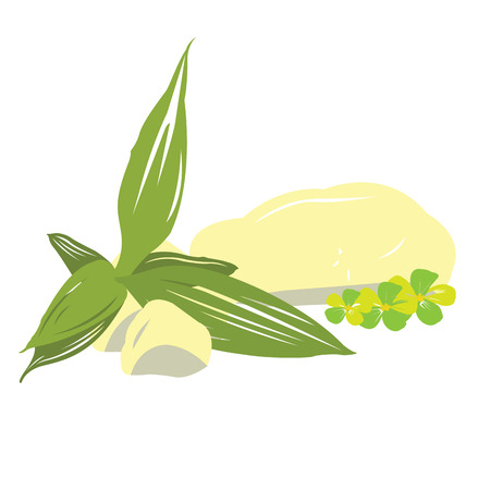 massage symbol: Isolated leaves with some flowers, Spa vector illustration