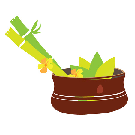 Isolated bowl with a pair of bamboo sticks and leaves, Spa vector illustration