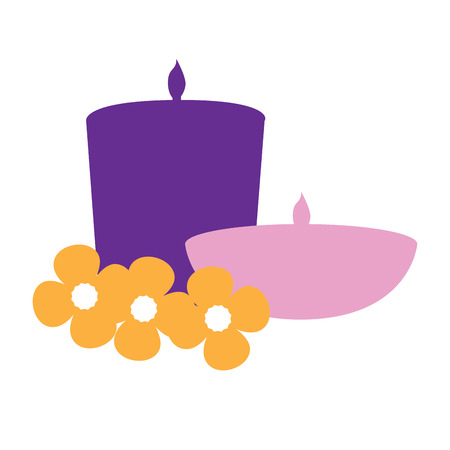 massage symbol: Isolated pair of candles with some flowers, Spa vector illustration