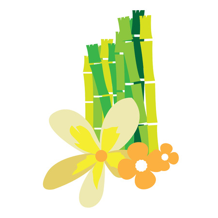 therapy group: Isolated group of bamboo with some flowers, Spa vector illustration Illustration