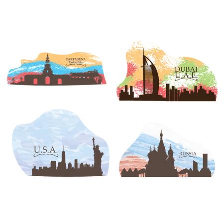 Set of different skylines on a white background, Vector illustration Illustration
