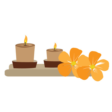 massage symbol: Pair of candles and a pair of orchids, Spa vector illustration