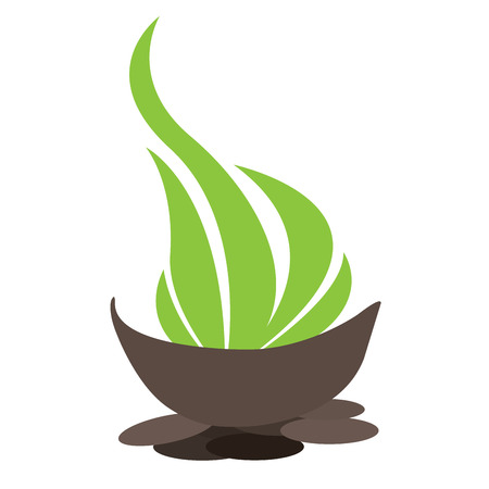 massage symbol: Isolated bowl with leaves and stones, Spa vector illustration