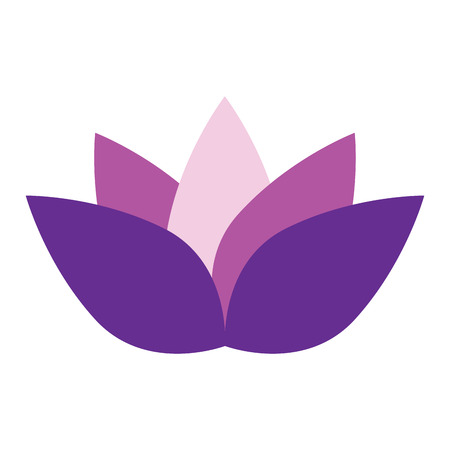 massage symbol: Isolated purple lotus flower, Spa vector illustration
