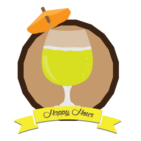 Isolated vintage happy hour label, Vector illustration Illustration