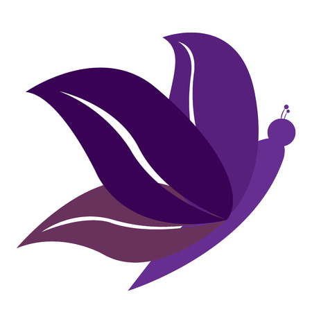 massage symbol: Isolated purple butterfly icon, Spa vector illustration