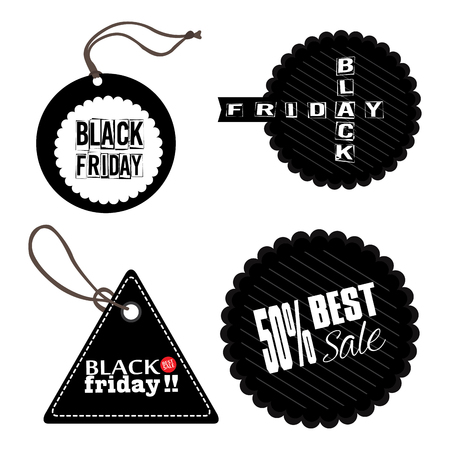 stock clipart icons: Set of black friday labels, Vector illustration