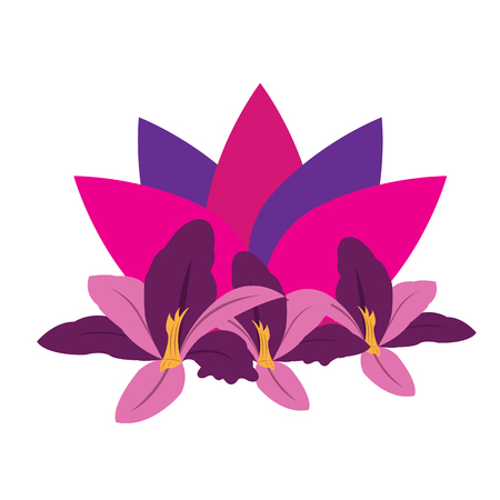 massage symbol: Isolated lotus flower with some orchids, Spa vector illustration Illustration