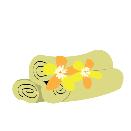 massage symbol: Isolated group of towels with some flowers, Spa vector illustration Illustration