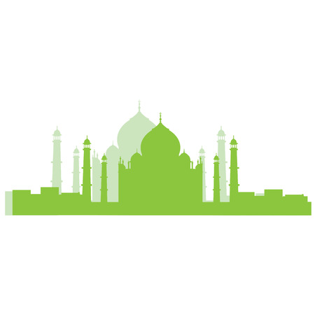 Isolated silhouette of Taj Mahal Illustration
