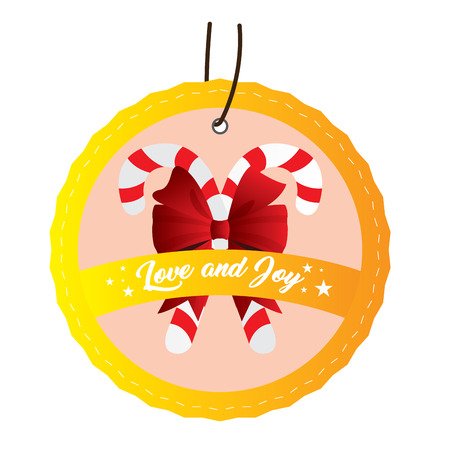 Isolated christmas label with a pair of canes