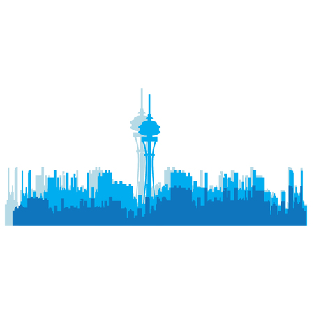 business scene: Isolated blue skyline of Seattle