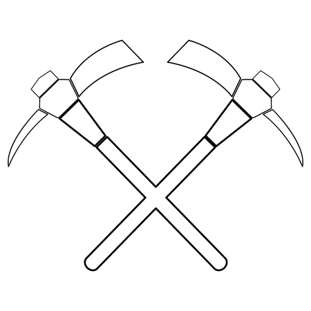 Paia isolate dell'icona di picconi su un fondo bianco, illustrazione di vettore Vettoriali
