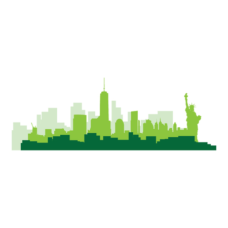 new york skyline: Isolated green skyline of New York