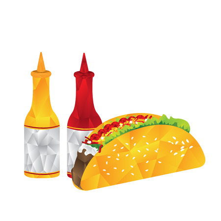 Isolated geometrical taco with sauce bottles, Fast food illustration