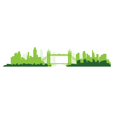 Isolated green skyline of London