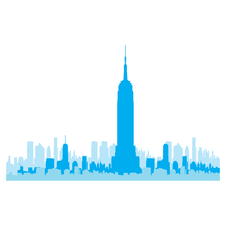 new york skyline: Isolated blue skyline of New York