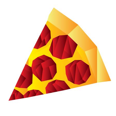 Isolated geometrical piece of pizza, Fast food illustration Illustration
