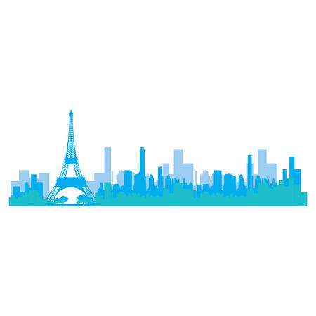 Isolated blue skyline of Paris