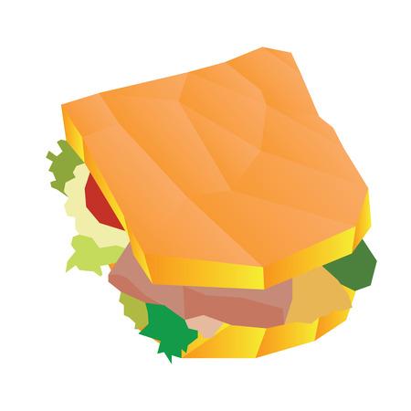 Isolated geometrical sandwich, Fast food illustration