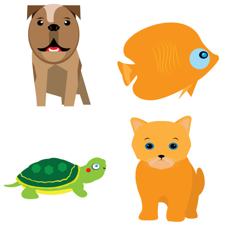 Set of different cute animals, Vector illustration Illustration